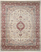 8x10 Hand-knotted Lahore Carpet Oriental Ivory Fine Wool Area Rug D40546