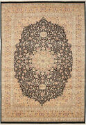 10x14 Hand-knotted Lahore Carpet Oriental Black Fine Wool Area Rug D40543