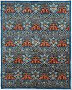 Traditional Hand Knotted Modern Rugs Blue/red Color Area Rugs Size 8 X 10