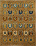 Traditional Hand Knotted Modern Area Rug Gold/blue Rugs Size 8 X 10