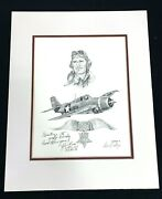 Wwii Usmc Fighter Ace And Medal Of Honor Recipient Captain Joe Foss Signed Print