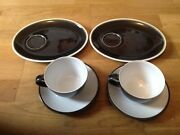 Denby Duets Black And White 2 Companion Sets And 2 Saucers.