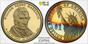 2009-s Pcgs Pr69dcam Colorful Toned Proof W H Harrison Presidential Dollar Dr