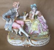 Antique Rococo Majolica Porcelain Figurine Lady And Gentleman Italy