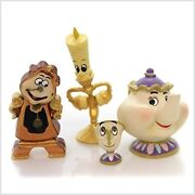 Disney Beauty And The Beast Set Of 4 Figurines Lumiere Mrs Potts Chip Cogsworth