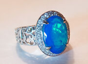 🧡 Sale 14k Wg Gorgeous Best Color Blue Opal And Diamond Ring - Video