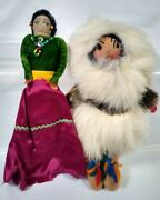 Vintage Antique Indian And Eskimo Cloth Dolls With Fur Beads