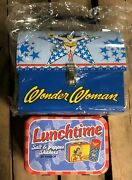 Lot Of 2x Rare Wonder Woman Tin Dome Lunchbox Dc Comics And Salt Pepper Shakers
