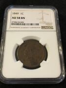 1849 Braided Large Cent Ngc Au-58 Bn - About Uncirculated - Certified Slab - 1c