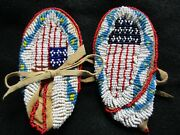 Native American Fully Beaded Childs Leather Moccasins, Native Design  Atl-03544