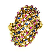 Vintage 18k Gold Ruby Sapphire Twisted Wire Large Bombe Cocktail Statement Ring