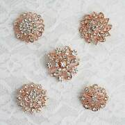100 Pcs Rose Gold Metal Assorted Brooches Floral Pins Rhinestones Decorations