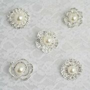100 Pcs Silver Metal Assorted Brooches Pins With Flowers Rhinestones And Pearls