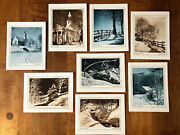 Unused Vintage Lot Of 8 Christmas Sunshine Cards By W.s. Robbins Winter Photos