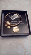 Alex And Ani Laugh Out Loud Lol Quote Gold Charm Bangle Bracelet Rare Htf