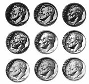 1956-1964 Roosevelt Dime Proof Run 90 Silver Us Mint 9 Coin Set