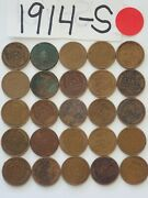 1914-s Cent Half Roll Solid Date =25 Lincoln Wheat Pennies 8 Items Ship Free