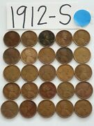 1912-s Cent Half Roll Solid Date = 25 Lincoln Wheat Pennies 8 Items Ship Free