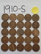 1910-s Cent Roll Solid Date = 25 Lincoln Wheat Pennies 8+ Items Ship Free