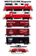 Western Maryland, Pandle, Nandw Freight Train 6 Magnets By Andy Fletcher