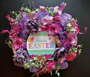 Happy Easter Floral Shades Of Purple Pink Large 24 Deco Mesh Wreath New Realtor