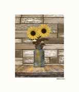 Farmhouse Kitchen Wall Art Sunflowers In Water Can Country Rustic Yellow Art