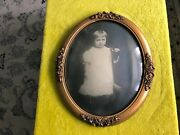 Vintage Convex Glass Antique Gold Oval Gesso Picture Frame Bowknot Girl Dress Sh