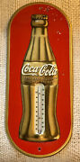 Rare 1938 Red And Gold Coca Cola Christmas Bottle Thermometer--original Beauty