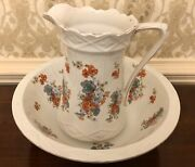 1930s Pitcher And Bowl Burgess And Leigh England Burleigh Ware Floral Design 12