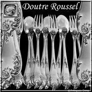 Roussel Antique French Sterling Silver Dinner Flatware Set 12 Pc Rococo