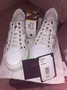 Authentic New Nib Mens Mcm Low-top Leather Sneakers White/black 38/8 With Belt