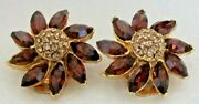 Blair Delmonico Vintage Signed Crystals Andtopaz Rhinestone Clip On Earrings