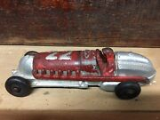 Vintage 1930s Hubley Race Car, Cast Iron, Red And Silver 22