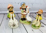 Lot Of 3 Vintage Erich Stauffer Hummel-type Figures - Girl With 2 Swans/geese