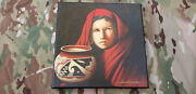 Rare Jd Challenger Signed Native American Indian Art Canvas Genuine 4