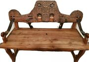 Antique Portuguese 19th Century Reclaimed Oxen Yoke Carved Bench Leather And Steel