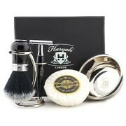 Double Edge Safety Razor, Brush, Stand, Bowl And Soap Perfect Mens Shaving Kit