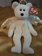Vintage Ty Beanie Baby Halo Angel Bear 1998andnbsp With Rare Brown Nose.