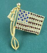 Gold-tone And Red, White, And Blue Rhinestone Usa Flag Brooch/pin - American
