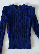 Auth Isabel Marant Lurex Metallic Royal Blue Fr 38 Cable Knit Sweater 660 Euro