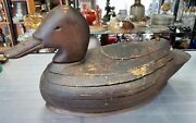 1905 Primitive Ring Cut Layered Wood Duck Decoy By Ted Grondski Massachusetts