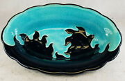 Antique Fine French Art Pottery Centerpiece Bowl Longwy Aesthetic France