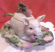 Fitz And Floyd Ceramic Pig And Platter Soup Tureen