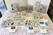 Stampin' Up Large Lot Of Sets Wood Mounted Rubber Block Stamps And Stampin Pads