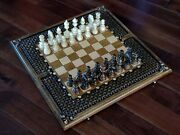 High End Handmade Chess -carved Birch Wood- Chessboard, Pieces And Backgammon20