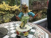 👀vintage Cominandrsquo Thro The Rye Clowns Leapfrog Music Box Porcelain Hand Painted👀