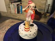 Vintage Love Story Clown Violin With Dog Busking Music Box China Hand Painted