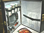1980and039s Travel Bar Black Leather Case Metal Glasses And Tray Shot Glass Bottle Op.