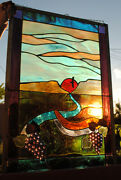 Stained Glass Window Panel Vineyard Winery Grape Mountain Valley Eagle
