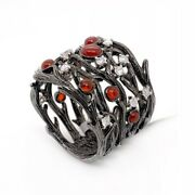 Solid 14k Black Gold Tree Branch Wood Logs Ring 1.39 Ct Natural Diamond And Agate